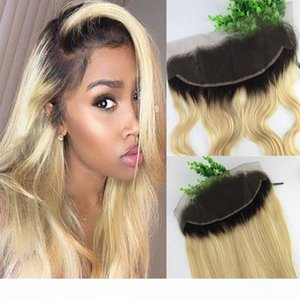 13x4 Brazilian Lace Frontal Closure Ombre 1b 613 Blonde Human Virgin Hair Straight Body Wave Bleached Knots Free Part