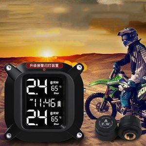 Waterproof Solar Motorcycle TPMS Tire Pressure Monitor System w  2 Sensors