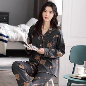 Bzel Womens Sleepwears Pajamas Cookie Print Cotton Sleepwear Soft Home Clothes Women Pyjama Femme Suit Large Size Xxxl