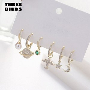 Fashion Plane Moon Star Pearl Cute Earrings Sets Personality Luxury Hoop Earings Set For Women Fashion Jewelry 2020 aretes U7Bo#