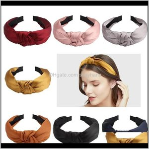 Headbands Jewelry Drop Delivery 2021 Fashion Solid Color Headband For Women Girl Simple Silk Knotted Hairbands Head Hoop Headwear Makeup Hair