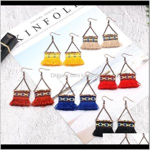 Dangle & Chandelier Drop Delivery 2021 Korea Selling Long Tassel For Women Fashion Hand Woven Bag Earrings Bohemian Chain Jewelry Yl31G