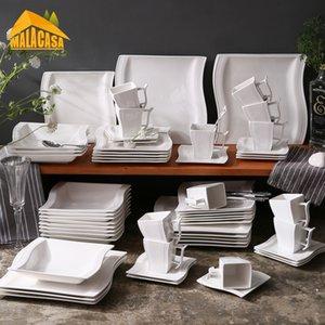 Malacasa Flora серии 60-х частей из керамического белого фарфора Ужин набор с 12 * чашкой, блюдцем, десертной суп-ужин.