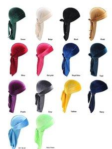 Beanieskull Hats Hats Scarves Gloves Fashion Drop Delivery 2021 14 Style Unisex Veet Durags Bandana Turban Caps Wigs Doo Durag Biker Headwear