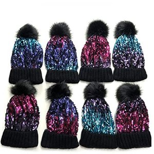 Women's Outdoor Recreation Caps Sequin Knitted Beanie Hat with Faux Fur Pom-Pom