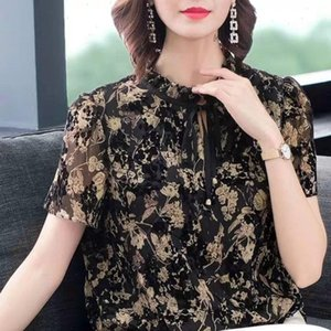 Women Spring Summer Style Chiffon Shirt Blouses Shirts Lady Casual Short Sleeve Stand Collar Sexy Printed Loose Tops