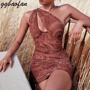 Günlük Elbiseler GGBAOfan Kahverengi Seksi Bir Omuz Girdap Baskı Cut-Out Mini Elbise Zarif Bodycon Dantelli Gece Kulübü Parti Kıyafetler Giyim