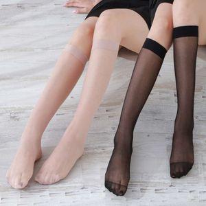 Medium tube silk stockings thin hook knee high spring and summer ultra-thin flesh color calf half length