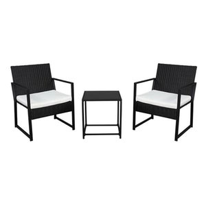 Outdoor 3-Piece Bistro Set Black Wicker Furniture-Two Chairs with Glass Coffee Table (Beige Cushion)