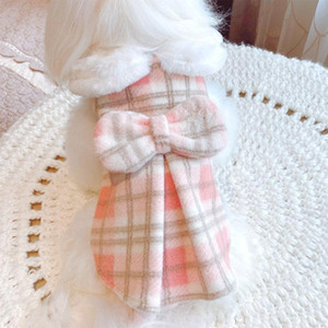 Big Bow Tie Pet Cat Clothes Tartan Dog Coat Winter Soft Fake Fur Collar Split Dress Sleeveless Vest Jacket For Princess Girls XL
