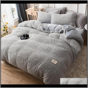 Sets Lambswool Bedding Luxury Winter Linens Keep Warm Duvet Solid Color Bed Cover Set Soft Sheets And Pillowcases 3K7Gm Wjy1A