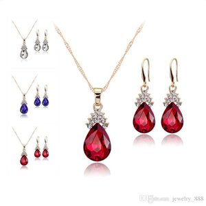Crystal Diamond Water Drop Necklace Earrings jewelry Sets Gold Chain Necklace for Women Fashion Wedding Jewelry Sets will and sandy