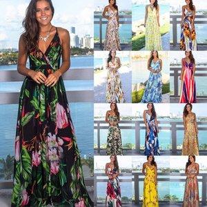 Summer Women Designer Dresses Fashion Sexy V Neck Floral Print Boho Beach Dress Sleeveless Braces Skirt Dresses 11 Colors S-2XL