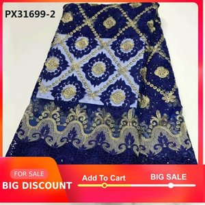 Ribbon High Quality Royal Blue Square Embroidered Flower Water Soluble Fabric Gorgeous Design Woman Dress Party Banquet