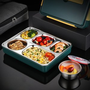 Camp Kitchen Stainless steel portablebox with water-sealed five-compartment thermal insulation lunch box separate compartment bento