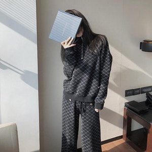Women's Tracksuits Edition Loose Small Ling Is Half A Turtle Neck Zipper Sweet Wind Sweater Wide-legged Pants Suit Dress