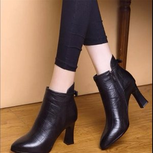 High heel boots children 2021 autumn and winter new British style thick heel short boots soft leather ladies shoes plus velvet Martin boots