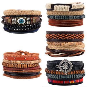Neue Mode Accessoires Anchor Perlen Leder Armbänder Armreifen 3/4 Stück 1 Set Multilayer Geflochtene Armband Armband Männer 56 W2