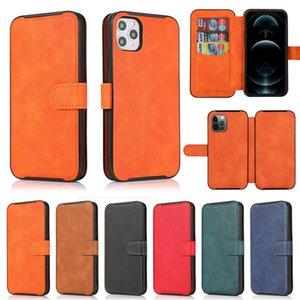 Etui d'embrayage de portefeuille en cuir de folio magnétique pour iPhone 12 Mini 11 Pro Max XR XS 6S 8 Plus Slim Slim Stepide Phone Shell