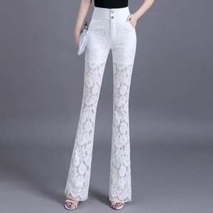 Women's White Lace Flared Pants Vintage High Waist Thin Section Flare Trouser Skinny Stretchy Casual Slim Fit Trousers