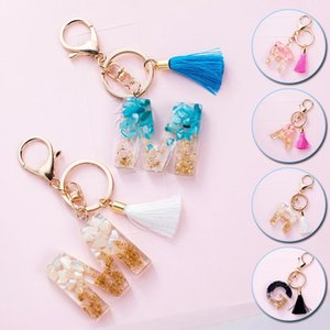 Cute Acrylic Letter Keychains Alphabet Crystal Women Key Chains Ring Car Bag Tassels Keyring Holder Pendent Charm Gift Accessory
