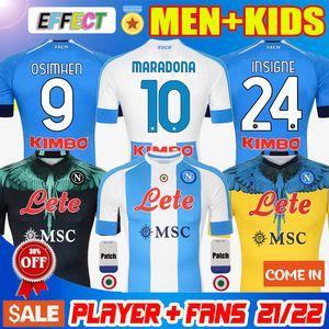 20 21 New Napoli Fourth Cuarto tributo a DIEGO Maradona Camisetas de fútbol camiseta Camiseta de inspiración argentina 2020 2021 Camiseta INSIGNE Kit de Soccer Jerseys