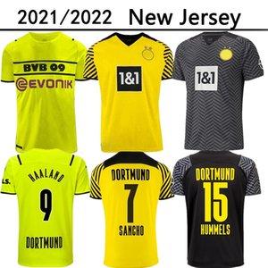 21 22 Dortmund 축구 유니폼 Borussia 홈 멀리 2021 2022 Haaland Reus Neongelb Bellingham 축구 셔츠 Sancho Hummels Brandt Men Jersey
