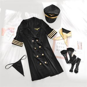 5-piece Set Uniform Temptation Sexy Lingerie Airline Stewardess Uniforms Temptation Erotic Lingerie Sexy Halloween Costumes L0407