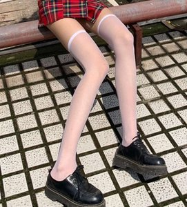 Summer thin knee socks transparent black silk stockings long tube thigh high fashion white children