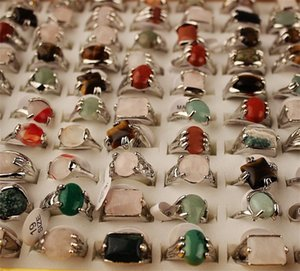 Mix Lot Men's Rings Natural Stone Rings For Natural Stone Collection Lovers 50pcs Wholesale 619 T2