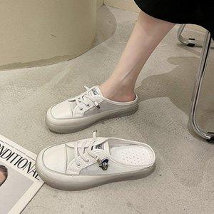 2021Summer Lace Up Düz Terlik Öğrenciler Sığ Ağız Nefes Casual Ayakkabılar