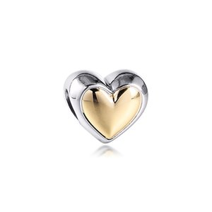 Sterling Silver Charms Mother's Day Domed Golden Heart Charm 2021 Fashion Female Beads For Jewelry Making Fits Original Bracelets