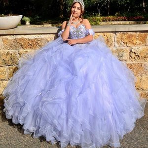 Lavender Quinceanera Dresses 2021 Remove Sleeve Beading Sweet 15 Gowns Ruffles Tier Tulle Junior Pageant Dress