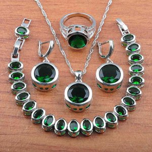 Bridal Wedding Jewelry Sets Earrings and Necklace Set For Women Costume Green Cubic Zirconia Round Accessories Js0370