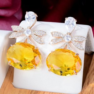 Dangle & Chandelier GODKI 33MM Spring Yellow Bowknots Earring For Women Wedding Party Dubai Bridal Jewelry Boucle D'oreille Femme Gif