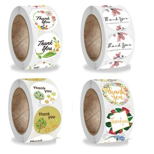 1 inch 2.5cm Round Colorful Adhesive Stickers Thank You Flower Crafts Decorative Envelope Seal 500pcs Roll Sticker Label
