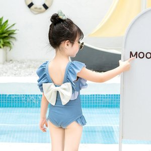 Children's Swimsuit Summer Girls One-piece Backless Big Bow Cute In Small Children 1-6 Years Old Baby Swimwear One-Pieces