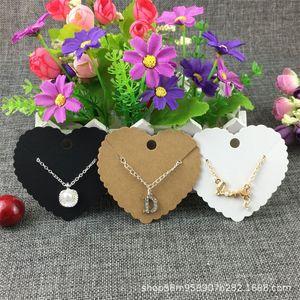 100Pcs Lot Heart Shape Earrings Necklace Card Handmade Kraft Paper Cardboard for Fashion Charm Jewelry Display Packing Card 203 W2
