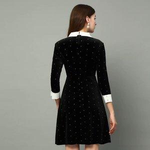 vestido seqiny ed en Veet 2021 primavera femenina diseño de moda 3/4 manga botón de cristal delgado bling mini negro