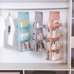3 4 Pockets Hanging Handbag Organizer Wardrobe Closet Transparent Storage Bag Door Wall Clear Sundry Shoe With Hanger Pouch Bags