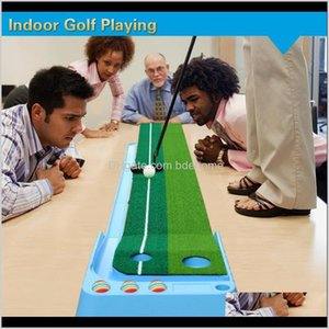 Indoor Golf Putter Playing Practice 98Ft Fairway Double Hole Auoreturn Ball Portable Mat Gift Training Aids 2X9Hs Gldnw