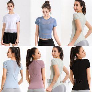 lu yoga shirts t-shirt tshirts for women designer woman t shirt outfit Breathable mesh sport fitness lace 2021 0303 M0UQ#