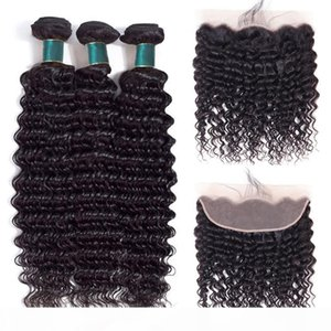 10A Deep Wave Human Hair Bundles With Frontal Brazilian Cuticle Aligned Hair 3 Bundles With Ear To Ear Closure 13x4 Lace Frontal Extensions