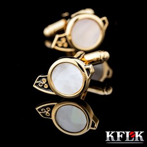 KFLK Jewelry French Shirt Gold-color Cufflinks for Mens Brand Cuff link Button Shell High Quality guests 2017 New Arrival