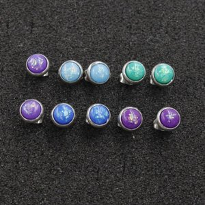 Stud Jaymaxi 6mm Cute Earrings Elegant Tiny Opal Round Children Earings Fashion Jewelry Gift For Women 5 Colors 3pair lot