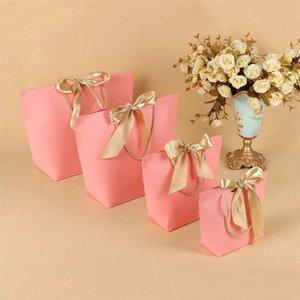 5 Цвета Бумага подарочная сумка Бутическая одежда Упаковка с лентой и ручкой Картонная упаковка Сумки для празднования Настоящая обертка