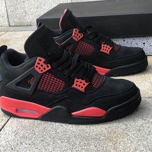 Человек Баскетбольные туфли Jumpman 4 4S Red Thunder Открытый Бегущие тренажеры Реальные замшевые моды Дизайнерские кроссовки поставляются с коробкой