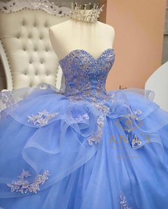 Light Sky Blue Beaded Ball Gown Quinceanera Dresses Sweetheart Sequined Prom Gowns Appliqued Sweep Train Tulle Sweet 15 Dress