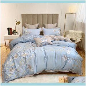 Sets Supplies Textiles Home & Garden42 Yellow Egyptian Cotton Bedding Set Queen King Embroidery Duvet Er Bed Sheet Linen Pillowcases Decorat