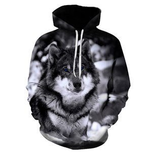 Sweatshirts Biaolun Homme d'hiver HIP HOP HOP HOP HOPHY TOPS Casual Marque 3D Wolf Head S-6XL